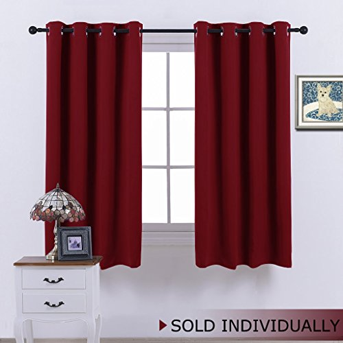 Room Darkening Blackout Red Curtain - (Burgundy Red) Home Decor Energy Smart Thermal Insulated Window Treatment Drape / Drapery for Kitchen by NICETOWN, 52x63 Inch ,1 Piece