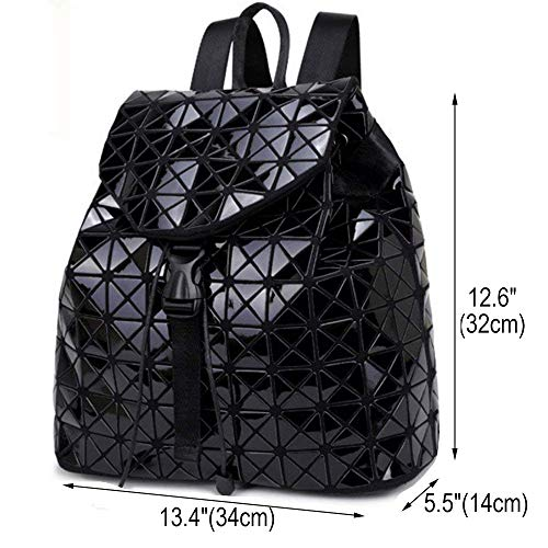 Bags Laser Fashion Rucksack Lingge Black Women Shoulder Geometric Backpack Travel College Backpacks 0ESqWAw