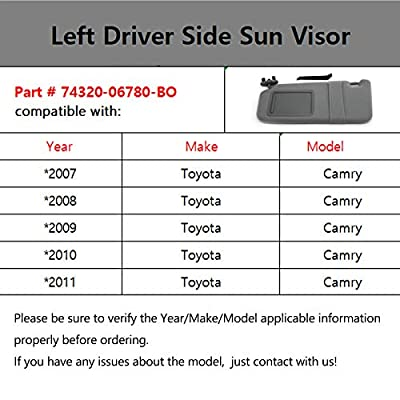 koxuyim # 74320-06780-B0/74320-33B81-B0 Fit Toyota Camry - Gray, Sun Visor Mirror Left Driver Side Replacement Part for 07-11 Toyota Camry(NO Sunroof) Without Light: Automotive