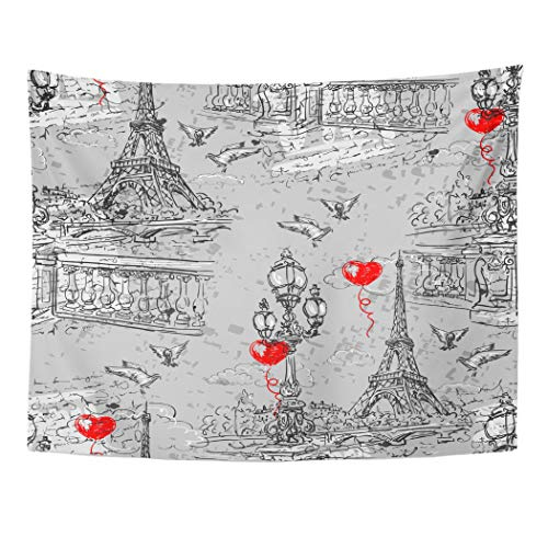 Emvency Tapestry Artwork Wall Hanging Paris in Retro The Embankment River Seine Lanterns and Doves on of Letters Bird City 60x80 Inches Tapestries Mattress Tablecloth Curtain Home Decor Print -