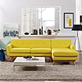 Modern Contemporary Urban Design Living Lounge Room Right-Facing Sectional Sofa, Yellow, Fabric