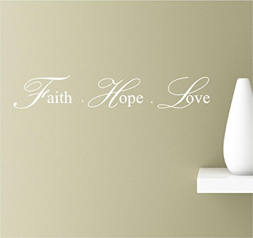 Faith hope love cursive inspirational wall quotes sayings vinyl decals art (white)