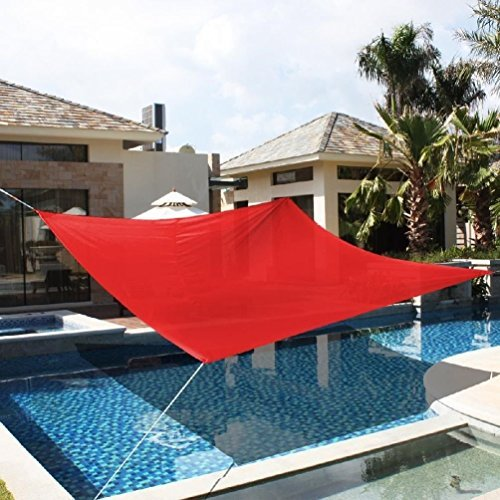 Cherry Queen 18' x18' Deluxe Square Sun Shade Sail UV Top Outdoor Canopy Patio Lawn Red New