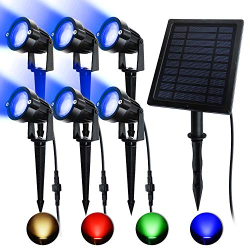 ASENEK Solar Spotlights, RGB Landscape Lights, LED Outdoor Spotlights with 6 Lighting Modes, Extra Backup Batteries Supply Design, Auto On/Off for House, Door, Patio, Lawn, Trees, Doors (1-6)