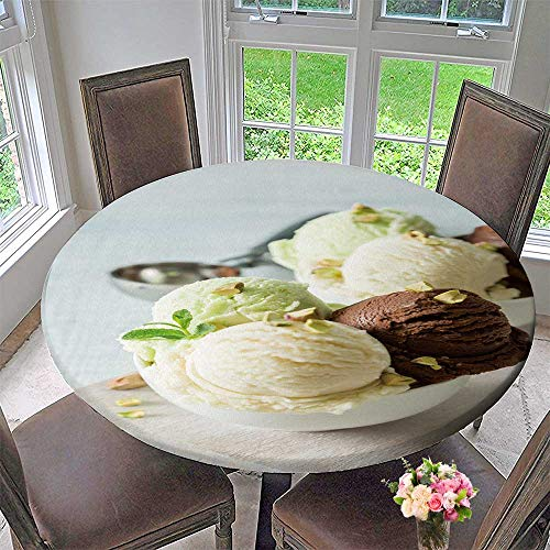 Chateau Easy-Care Cloth Tablecloth ive Cream Scoops in White Bowl for Home, Party, Wedding 59