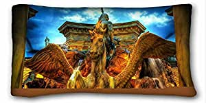 Custom Cotton & Polyester Soft City Custom Cotton & Polyester Soft Rectangle Pillow Case Cover 20x36 inches (One Side) suitable for California King-bed