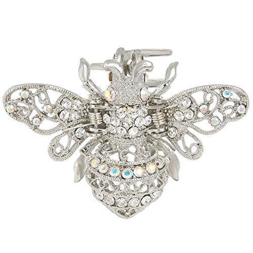 EVER FAITH Clear Crystal Adorable Honey Bee Insect Women Daily Hair Claw Clip Silver-Tone