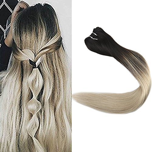 Full Shine 14 inch Balayage Ombre Human Hair Weft Remy Hair Extensions Dye Hair Color #1B Black Fading to #613 Blonde Double Weft Real Hair Bundles 100g/package (Blonde To Black Hair Before And After)