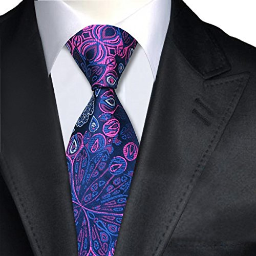 Work Weddings Tie Occasions Smart Italian Great For Design Wear Silk Formal Patterned amp; Pink Blue qwxRzOq