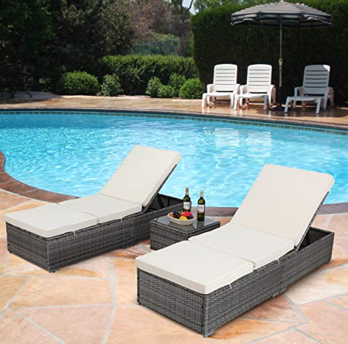 HTTH 3 Pcs Outdoor Patio Furniture Set Adjustable PE Rattan Wicker Chaise Lounge with Table