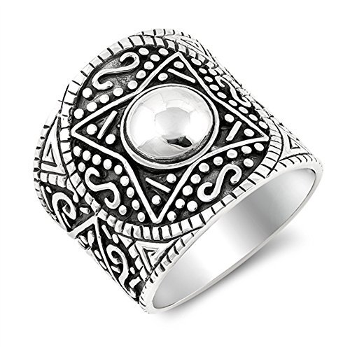 Wide Aztec Design Infinity Boho Ring .925 Sterling Silver Bali Band Size 7