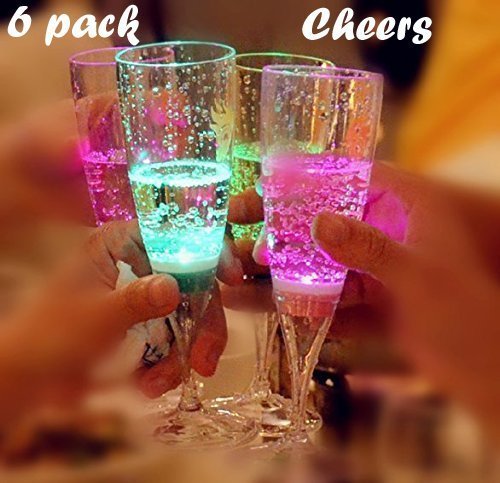 LED light up wine glasses, Champagne Flute's Cocktail Flashing Cups, LED Liquid Activated for Bar Party Night Club Drink Christmas Wedding Party Decoration 6 pack ()