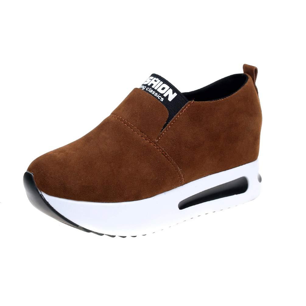 Chaussures de élastique Plate-Forme de Chaussures Femmes Glissent sur la Marron Taille élastique Augmentant des Coins de Mode Chaussures Occasionnelles Marron 1d09274 - jessicalock.space