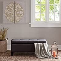 Shandra II Tufted Top Storage Bench Ash Grey See below