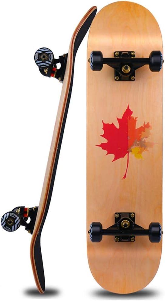スケートボード スケートボード四輪スクーターダブルロッカー道路用ボード成人子供用ユニセックススケートボードキャスター付メープル 80 * 20 茶色 (Color : 褐色, Size : 80*20*15cm) 褐色 80*20*15cm