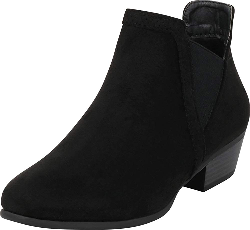 Black Imsu Cambridge Select Women's V Cutout Chelsea Stretch Chunky Stacked Low Heel Ankle Bootie