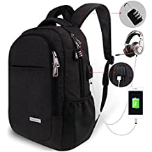 Travel Laptop Backpack,Tzowla Business Anti-theft Water-resistant College Backpack with Combination Lock,USB Charging Port&Headset Port Fits Under 16 Inch Laptop and Notebook (Black)