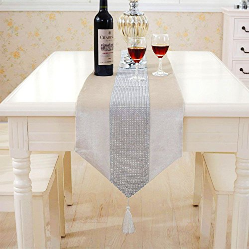 Deggodech La Simple de Corredor Mesa Banquete Diamante Upscale Home Decor Classic Coffee Table Cloth (Beige, 32x185cm)