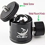 """Gosky Mini Ball Head Camera Mount 1/4"""" Screw 360 Degree for Digital Camera / Compact DSLR / Cell Phone / Monopod / Gopro / Light Stand / Light House / Vive -Aluminum House and Steel Ball -Round Knob"""