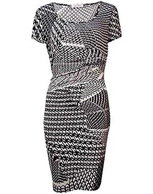 Calvin Klein Womens Short Sleeve Printed Jersey Dress CD5AX7A3