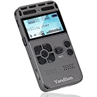 Digital Audio Voice Recorder by Vandlion, 8GB 1536Kbps Sound Audio Recorder with Mp3 Player, Double Microphone, Metal Casing, Voice Activated