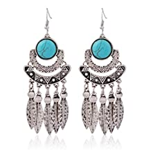 Bohemian Retro Turquoise Leaves Tassels Earrings for Women Girl