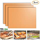 Copper Grill Mat Set of 3 Non-Stick BBQ Grill & Baking Mats, Reusable and Easy to Clean - Works on Gas, Charcoal, Electric Grill