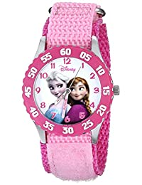 Disney Kids W000970 Anna Snow Queen Elsa Stainless Steel Pink Bezel Nylon Strap Watch