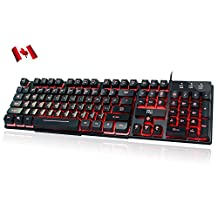 Rii K100 3-Color LED USB Wired Gaming Keyboard Mechanical-feeling