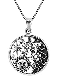 """<span class=""""a-offscreen"""">[Sponsored]</span>Celestial Amulet Sun Moon and Star .925 Sterling Silver Pendant Necklace"""
