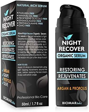 NIGHT RECOVER Organic Serum - Anti Wrinkle Night Powerful Serum - Restoring, Rejuvenates, Anti Aging, Hydrate, Moisturizing, Vegan, Bio Natural Skin Care with Organic Argan Oil & Propolis Oil - 50ml