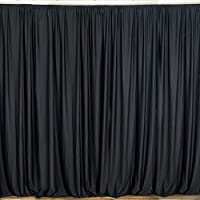 BalsaCircle 10 ft x 10 ft Polyester Professional Backdrop Curtains - Black