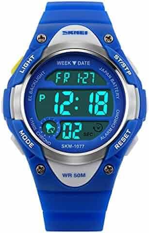 Recalls Children Watch Outdoor Sports Kids Boy Girls LED Digital Alarm Waterproof Wristwatch Blue