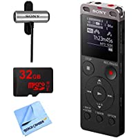 Sony Ux560BLK Digital Voice Recorder w/ 32GB Bundle Includes, 32GB MicroSD High-Speed Memory Card, Sony Clip style Omnidirectional Stereo Microphone and 1 Piece Micro Fiber Cloth