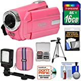 Vivitar DVR 508 NHD Digital Video Camera Camcorder (Bubble Gum Pink) 16GB Card + Case + LED Video Light + Tripod + Kit