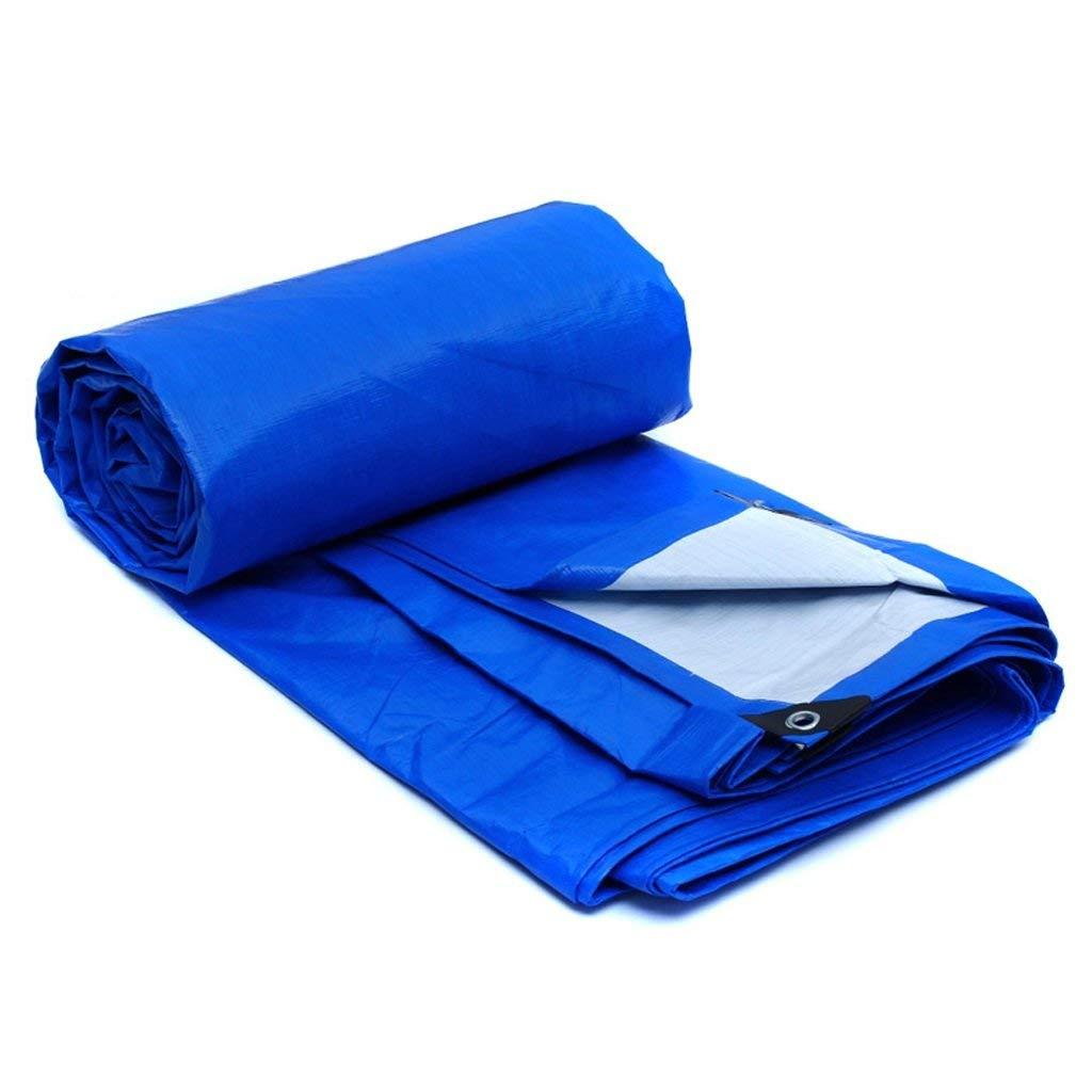 YHUJH Außenzelt Wasserdichte Plane Autowagen Sonnenschutzplanen Zeltplanen für den Außenbereich Zelt, blau + weiß (Größe   4  3)