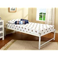 Kings Brand Furniture White Metal Twin Size Platform Bed Frame, Mattress Foundation / No Box Spring Needed