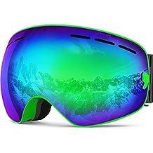 IceHacker X Ski Snowboard Snow Goggles OTG Design for Men & Women with Spherical Detachable Lens UV Protection Anti-fog
