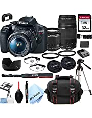 Canon EOS Rebel T7 DSLR Camera with 18-55mm f/3.5-5.6 is Zoom Lens + 75-300mm F/4-5.6 III Lens + 32GB Card, Tripod, Case, and More (24pc Bundle) photo
