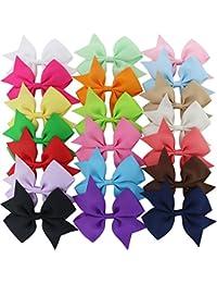 Solid Grosgrain Ribbon Pinwheel Boutique Hair Bows...