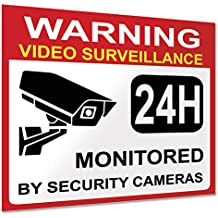 """Video Surveillance Warning Sign Sticker - Decal, 6x Pack, 3.5""""x3"""" in, CCTV Security Premium Self-Adhesive Reflective Vinyl, Laminated for Ultimate UV Protection, Indoor and Outdoor."""