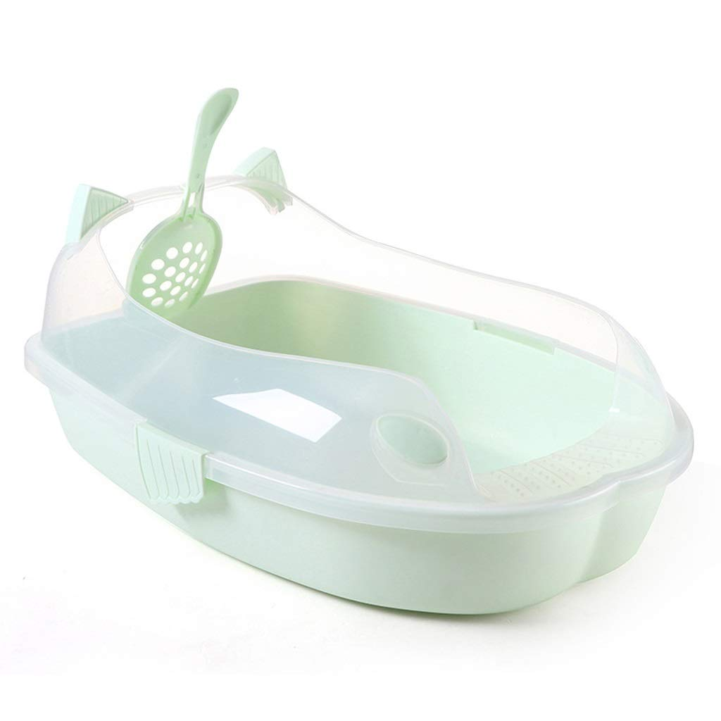 Green Cat Litter Bowl, Large Semi-closed Development Cat Toilet, Heightened Fence Design To Prevent Cat Litter (color   Green)