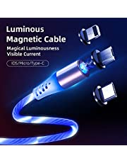 Magnetic Light Up Phone/Tablet Charger | 3-in-1 Charger (Type-C, IOS & Micro) | ! (Blue (Blue Light))