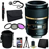 Tamron AF 90mm f/2.8 Di SP A/M 1:1 Macro Lens for Canon Digital SLR Cameras + 55mm 3 Piece Filter Kit + Lens Cap Keeper + Deluxe Starter Kit + Deluxe Lens Pouch + Lens Pen Cleaner + DavisMAX MicroFiber Cloth DavisMax Bundle