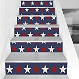 Stair Stickers Wall Stickers,6 PCS Self-adhesive,Primitive Country Decor,Symmetric Stars United States Independence Freedom Theme Decorative,Dark Blue Ruby White,Stair Riser Decal for Living Room, Hal