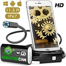 Cámara de inspección de MonsterCam, 2.0 MP boroscopio, endoscopio, inspección HD, cámara impermeable de la serpiente para Android, iOS teléfonos inteligentes, iPhone, Samsung, Windows, imán incluido, espejo de 90 grados y gancho