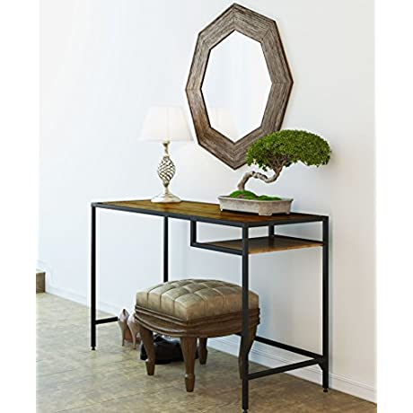 Industrial Vintage Design Space Saver Entryway Hallway Console Table Desk With Lower Shelf Storage Wood Top And Metal Black Metal Frame