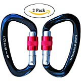 Tunteil Locking Carabiner 25kN≈5600 lb 2 Pack Black D Shape Ultra Light but Strong Aircraft Grade Aluminium Hook Screw Gate Buckle Screw-on biner Carabiner for Climbing,Hunting,Camping,Hammock