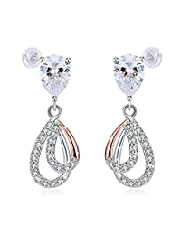 "Earrings, 925 Sterling Silver Drop Earrings J.Rosée Fine Jewelry Mother's Day Gift ""Godness's smile"" Best Gift for Mom Wife Girlfriend with Exquisite Package"