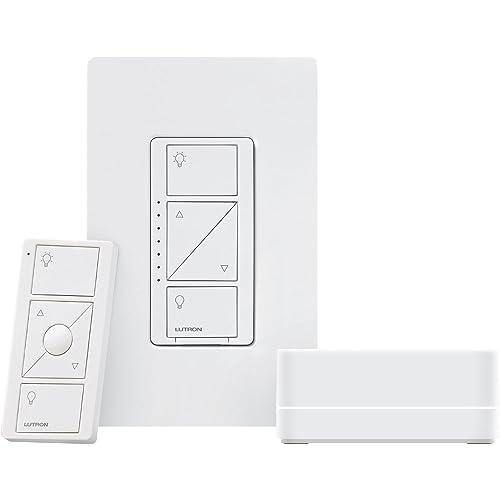 Caseta Wireless Dimmer Kit with Smart Bridge, Works with Amazon Alexa